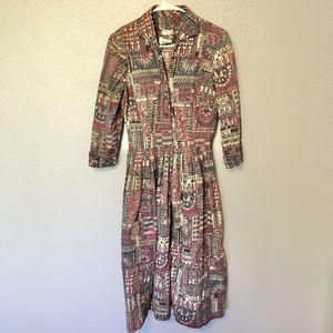 Kabro Vintage Mid Calf, 3/4 Length Sleeve dress sm